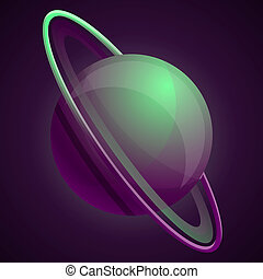 Abstract green saturn planet icon, cartoon style