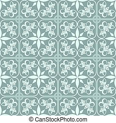 Abstract green seamless vintage flower vector pattern.