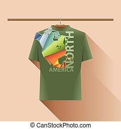 Abstract green shirt with north america colored logo with...