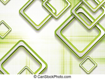 Abstract green squares tech grunge background
