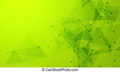 Abstract green tech low polygons comminication motion...