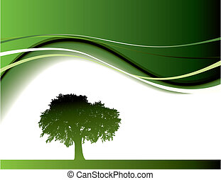 Abstract green tree background in editable vector format