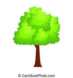 Abstract green tree, element of a landscape. Colorful cartoon vector Illustration
