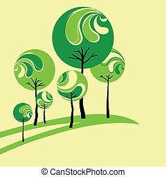 Abstract green tree on yellow background