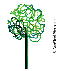 Abstract green tree symbol drawn with curled lines. Eps10