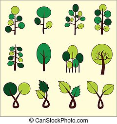 Abstract green tree. Vector graphic. Clip Art