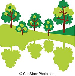 Abstract green trees. Eco forest in mirror.