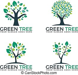 Abstract green trees set logo vector designs.