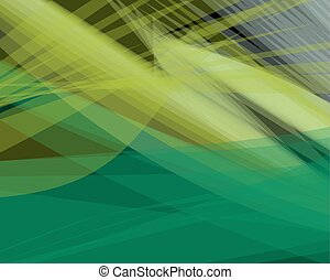 Abstract green vector background banner, transparent wave lines