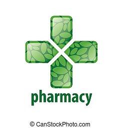 abstract green vector logo cross for pharmacy