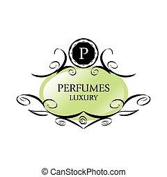 abstract green vector logo for perfumes