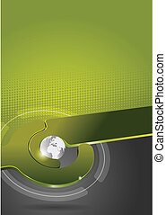 Abstract green vector tech background with globe.