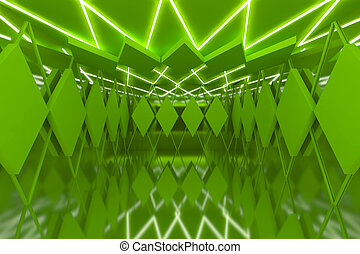 Abstract green wall in empty room