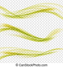Abstract Green Wave Set on Transparent  Background. Vector Illus