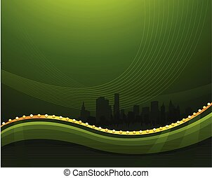 Abstract green waving background with cityscape