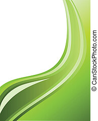 Abstract green wavy stripes background with copy space.