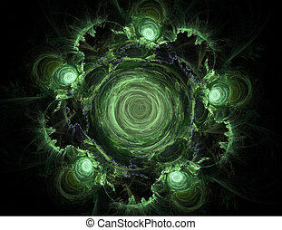 Abstract Green Whirlpool on a Black Background
