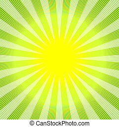 Abstract green-yellow background with sunburst (vector)