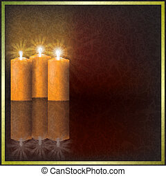 Christmas candles on dark background