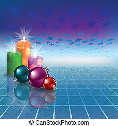 Abstract greeting with Christmas decorations