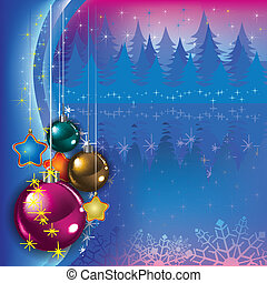 Abstract greeting with Christmas decorations on blue...