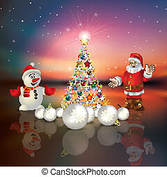 Abstract greeting with Christmas tree and Santa Claus