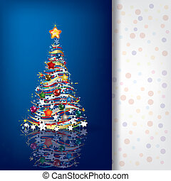 Abstract greeting with Christmas tree on blue
