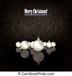 Abstract greeting with pearl Christmas decorations