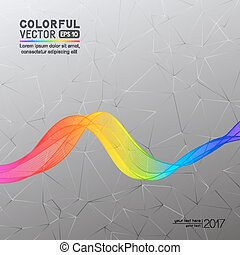 Abstract Grey Background with Bright Rainbow Wave Line on Triangular Grid Backdrop.