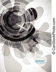 abstract grey background with circles.