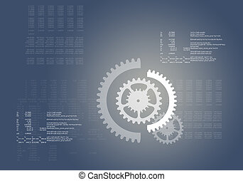 Abstract grey background with cogs