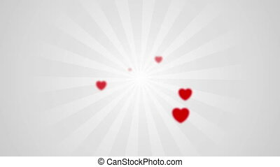 Abstract grey beams and red blurred hearts video animation