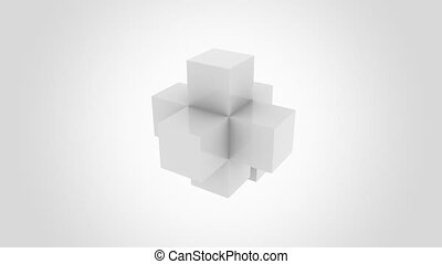 Abstract grey cube assembling endlessly. Join, addition, and...