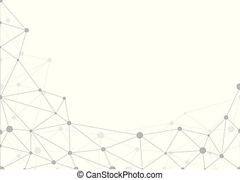 Abstract grey geometric background with chaos of connected lines and dots. Vector illustration