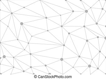 Abstract grey geometric background with connected lines and dots. Vector illustration