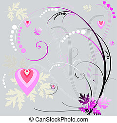 Abstract grey-pink floral backgroun