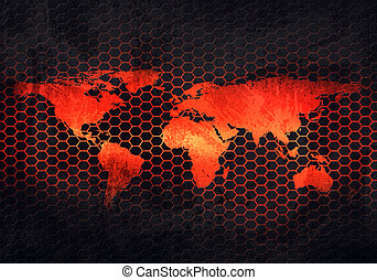 Abstract grey rusty metal plate with embossed world map in perforated background