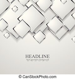Abstract grey silver metal squares technology background