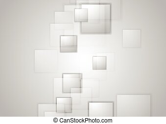 Abstract grey squares tech background