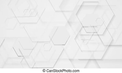 Abstract grey tech motion background with hexagons