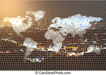 International business concept - Abstract grid with map on...