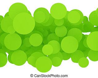 abstract, groene, cirkels, op wit, achtergrond