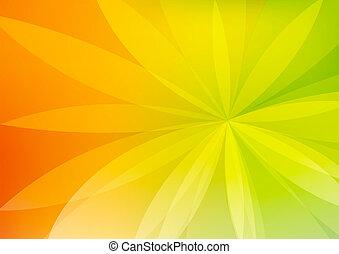abstract, groene, en, oranje achtergrond, behang