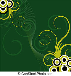 abstract, groene, floral, achtergrond