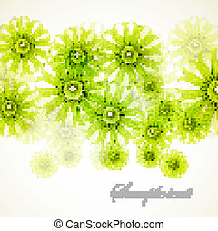 abstract, groene, floral, vector, achtergrond