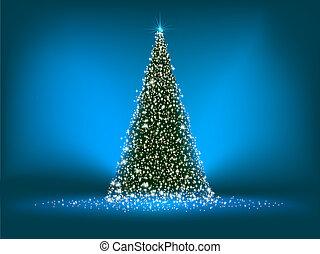 abstract, groene, kerstboom, op, blue., eps, 8