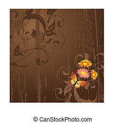 abstract, grunge, achtergrond, met, bloemen