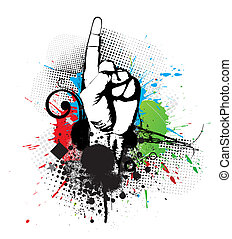 symbol of first - abstract grunge arrow hand symbol of...