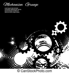 Abstract grunge background, gears