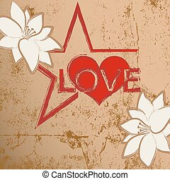 Abstract grunge background heart with heart and flowers.